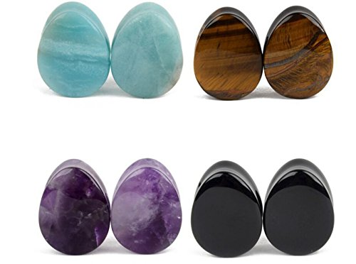 4 Pairs Natural Mixed Opalite Stone Plug Double Flared Flesh Tunnels Ear Stretcher Piercing Gauges (Guage=9/16''(14mm)) by Chaplin Wong