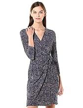 Anne Klein Women's Classic V-Neck Faux WRAP Dress, Eclipse/Anne White, M