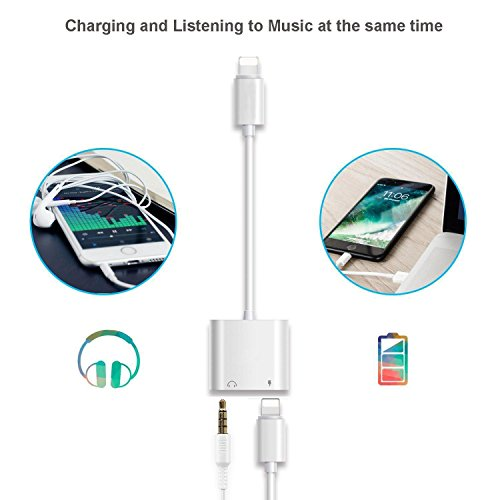 Lightning Jack Headphone Adaptor Charger for 8/8 Plus iPhone 7/7 Plus/iPhone X 10/iPad/iPod Earphone Adapter Headphone Aux Audio & Charge Adaptor,Connector Lightning Cable Suppor iOS 11 System by iNassen (Image #3)