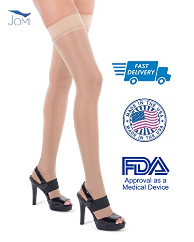 Jomi Compression Thigh High Stockings Collection, 15-20mmHg Sheer Open Toe 152 (Large, Natural) - Unisex Fashion Blend