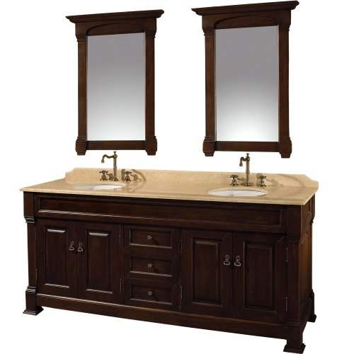 Wyndham Collection Andover 72 inch Double Bathroom Vanity in Dark Cherry, Ivory Marble Countertop, White Undermount Round Sinks, and 28 inch Mirrors (Cherry Wyndham)