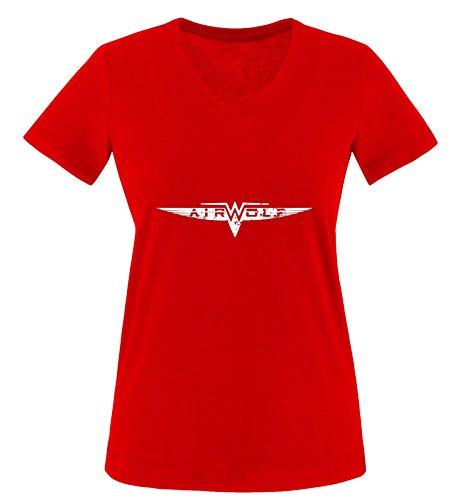 Mangas cortas Air wolf blanco Rojo Rojo Camiseta Mujer EPtWqpnwEd