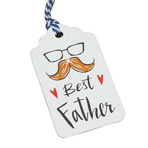 Obling Kraft Gift Tags with Best Father Words DIY Paper Gift Tags with String, 50 pcs Cards with 32.8 inches Cotton Thread (50) ()