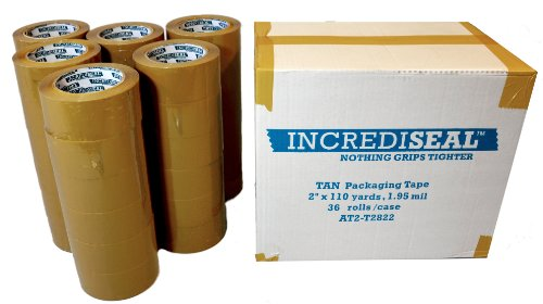 INCREDISEAL 36 Rolls Packaging Tape, 2 Inch x 110 Yards x 1.