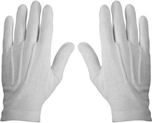 WHITE STITCHED COTTON GLOVES- PAIR, MEDIUM