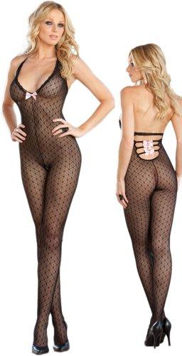 Sexy Sheer Black Halter Body Stocking