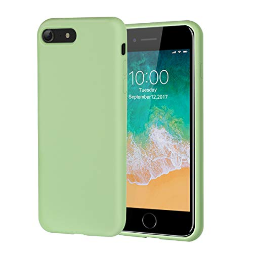 iPhone 8 Case,iPhone 7 Case,Soft Silicone Gel Rubber Case with Microfiber Lining Cushion and Tempered Glass Screen Protector Shockproof Full Body Protective Case for iPhone 8,iPhone 7 (Tea Green)