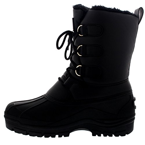 Polar Womens Hiking Duck Winter Walking Mid Calf Muck Thermal Quilted Boots Black Leather H7RtXPttt