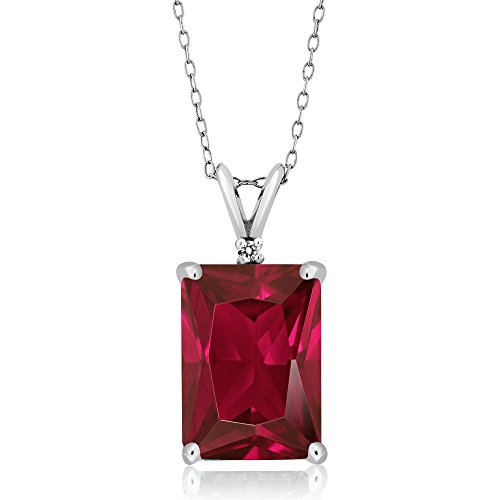 - Gem Stone King 8.02 Ct Emerald Cut Red Created Ruby and White Diamond 925 Sterling Silver Pendant Necklace With 18 Inch Silver Chain