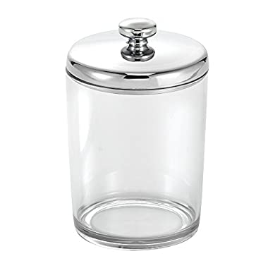 InterDesign Gina Bathroom Vanity Canister Jar for Cotton Balls, Swabs, Cosmetic Pads - Clear/Chrome