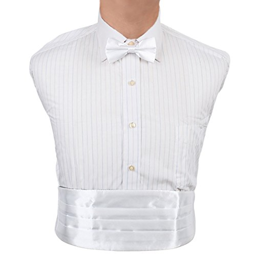 Dan Smith DIC1E01I White Solid Microfiber Fratty Cummerbund Set For Urban Sale For Evening Cummerbund Matching Bow Tie