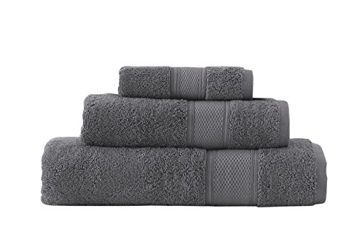 Grund Pinehurst 100% Organic Cotton Luxury Spa, 3 piece set, Slate Gray, Face, Hand, and Bath - Slate 3 Piece