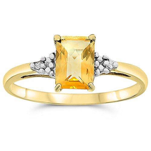 10k Yellow Gold Rectangular Shape Genuine Citrine Gemstone and Diamond Ring, Birthstone of November (Rectangular Shape Ring)