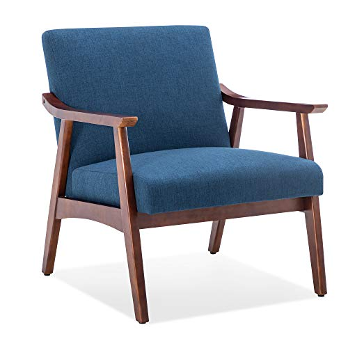 BELLEZE Mid-Century Modern Accent Armchair Solid Hardwood Upholstered Linen Lounge Chair, Navy Blue