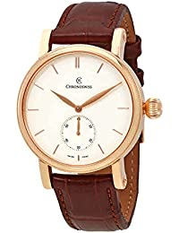 Sirius Mens 40 MM White Face 18K Rose Gold Case Brown Leather Strap Watch Swiss Automatic CH-8021R