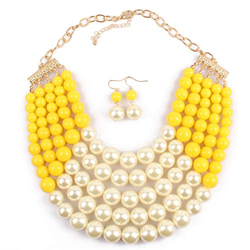 Thkmeet Women Fashion Jewelry Set Pearl Bead Cluster Collar Bib Choker Necklace and Earrings Suit (5 Layer-Yellow)