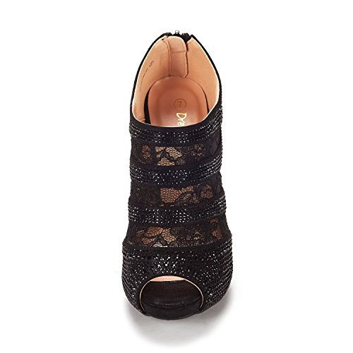 Dream Pairs Dress 02 Women's Wedding black Pumps High Peep Heel Fashion Suede Toe Shoes Valentine A1q1dw4r