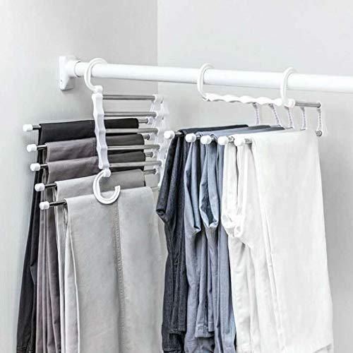 (Fine 5 Layers of Hangers Space Saving Hangers, Multi-Purpose Metal Magic Hangers Cascading Hanger Updated Hook Design Metal Wonder Hangers for Organizing Wardrobe Clothing Hanger (White))