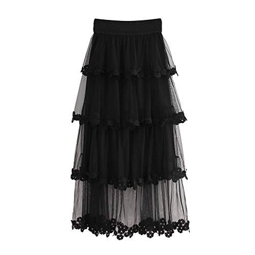 - Women's High Waist Ruffle Mesh Layered Tulle Skirt Women Full/Ankle Length A Line Maxi Skirts Wedding Dresses (Free Size, Black)