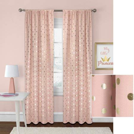 - Better Homes Gardens Polka Dots Panel, 52x63, Blush/Gold