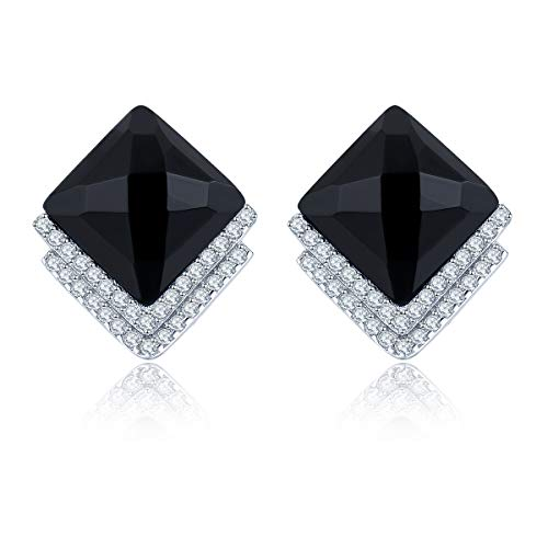 Natural Black Agate Clip Earrings Solid 925 Sterling Silver Fine Classic Korea Style Jewelry for Women Girl Best Gift New