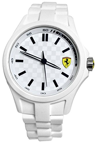Ferrari Men's 0830155 Pit Crew Analog Display Quartz White - Scuderia Ferrari White