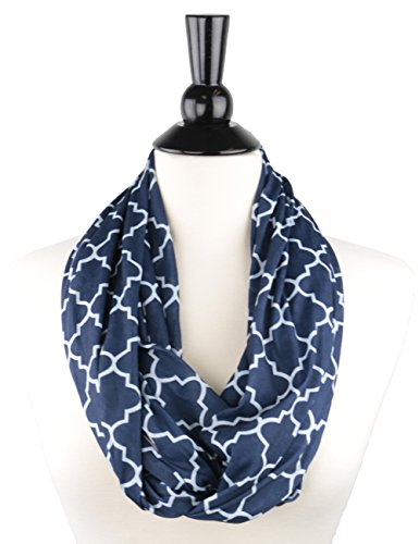 Womens Navy Blue Lightweight Infinity Neck Scarf w/ Zipper Pocket & Pattern, Sheer Navy Infinity (Pattern Zipper)