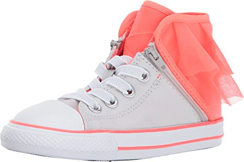 CONVERSE CHUCK TAYLOR ALL STAR BLOCK PARTY - HI - PURE SILVER/HOT PUNCH/WHITE - INFANT (7 Toddler M) ()
