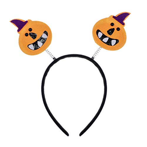 A Miaow Pumpkin Skull Bat Halloween Headband Costume Party Hair Hoop Accessory (Pumpkin-PP) -
