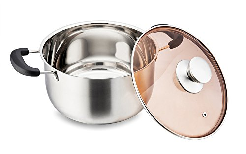 Stainless Steel Stockpot, P&P Chef 5 Quart Stock Pot with Lid, Heat-Proof Double Handles - Dishwasher Safe by P&P CHEF (Image #4)