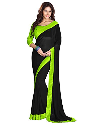 Sourbh Women's Georgette Plain Indian Saree with Lace