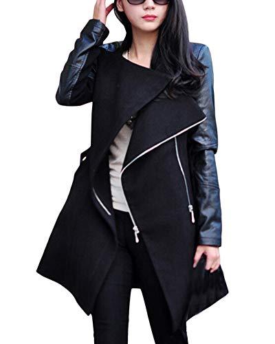 Femme Trench-Coats Piq?re Manche Longue Fermeture clair Longue Manteau Noir