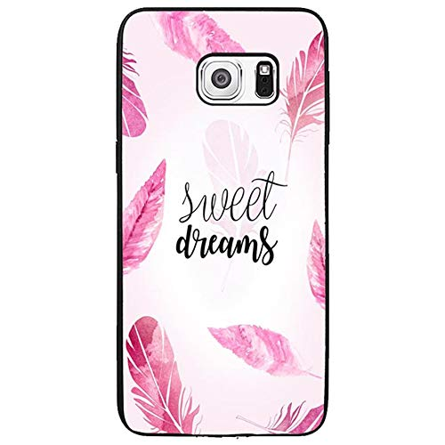FIDIKO Sweet Dreams Pink Plume Hard Case Compatible Galaxy s6 Edge Plus, Popular Hard Plastic Slim | Anti Slip Phone case Compatible Samsung Galaxy s6 Edge Plus