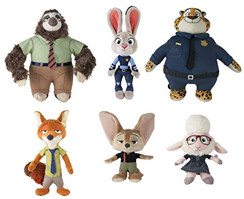 Zootopia Tomy 6 Plush Judy Hopps, Nick Wilde, Finnick, Flash The Sloth, Clawhauser, Assistant Mayor Bellwether Toy Bundle Stuffed Animal Disney Collection