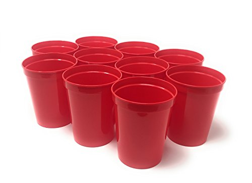 CSBD 10 Pack Blank 16 oz Plastic Stadium Cups Bulk - Reusable or Disposable, Made In USA, Great For Customization, Monograms, Marketing, DIY Projects, Weddings, Parties, Events (10, Red) ()