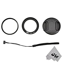 JW KWF-P520 62mm UV Filter Lens Adapter Ring Cap Set for Nikon Coolpix P510 P520 P530 + JW emall Micro Fiber Cleaning Cloth