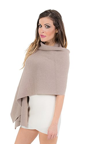 KROWN Cashmere Shawls for Women, Super Soft Lambs Wool Pashmina Shawl for Cold Weather, Extra Large Knitted Cashmere Wraps for Winter, Beige