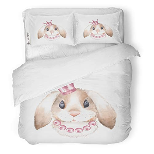 Emvency Decor Duvet Cover Set Full/Queen Size Girl Rabbit and Crown Watercolor Illustration Isolated on White Background 3 Piece Brushed Microfiber Fabric Print Bedding Set Cover ()
