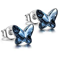 ANGEL NINA 925 Sterling Silver Butterfly Earrings ❤️Free Love❤️ Hypoallergenic Earrings Made with Swarovski Crystals, Valentines Birthday Gifts Elegant Jewelry Gift Box