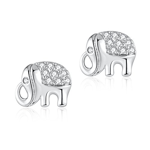 2Pcs 16G Surgical Steel Elephant Upper Ear Stud Cartilage Earrings Helix Auricle Lope Piercings 1/4'' by Candyfancy