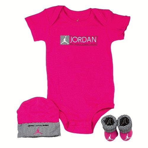 Jordan 3 Piece Retro 12 Creeper Set - Girls' Infant Vivid Pink/Black