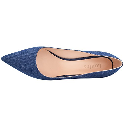 Patent Pointed Lovirs Heel Party Color Solid Womens Toe Denim Shoes Wedding Pumps Stiletto Leather High AxxwFBqn