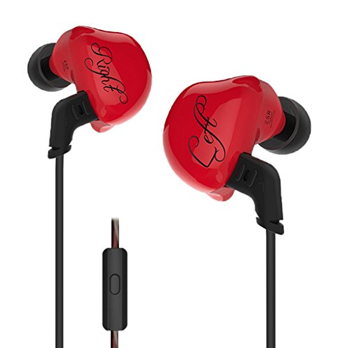 Homyl In Ear Earphone Hifi Stereo Deep Bass Earbuds with 0.75mm Gold Plated Pin Red by Homyl