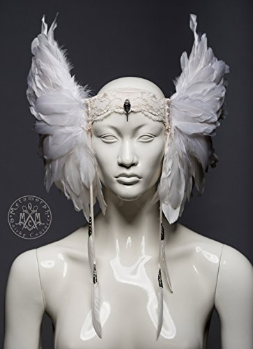 White feather headdress by Metamorph Quirky Couture