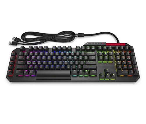 OMEN by HP Sequencer Wired USB Mechanical Optical Gaming Keyboard - 10x Faster - Blue Switch - Volume Roller Bar - 16.8M RGB Colors - Anti Ghosting (Renewed) ()