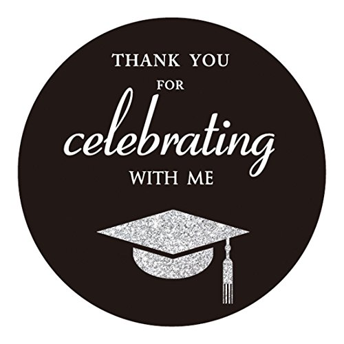 (MAGJUCHE Silver Class of 2019 Graduation Thank You Stickers, Congrats Grad Party Circle Favor Sticker Labels, 40-Pack, 2