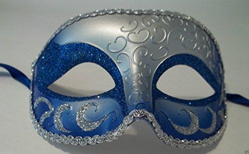 Inside Man Costume (Blue Silver Venetian Men Elegant Masquerade Mardi Gras Halloween Costume Mask)
