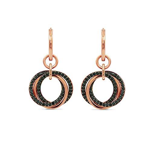 DIAMONBLISS Sterling Silver 1.25 ct tw Black Spinel Multi-Circle Sterling Drop Earrings, Rose