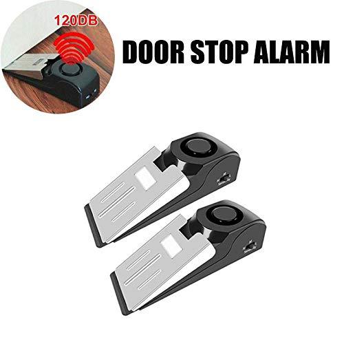Door Stop Alarm Anti-Theft Security Door Safety Anti Break Blocking System Burglar Wedge Wireless Alarm for Home Hotel Travel Door Stopper Alarm with 120DB Siren Door Stop