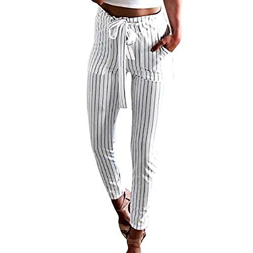 CCatyam Pants for Women, Striped High Waist Elastic Bowtie Sport Harem Trouser Casual White